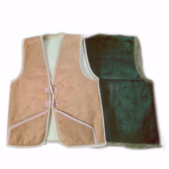 Mellény gyapjúból és irhából zöld színben XL-es méret
